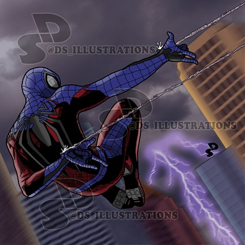 Comic Illustration of Marvel's and Insomniac's Spider-Man (negative version) for the PlayStation 4 system.