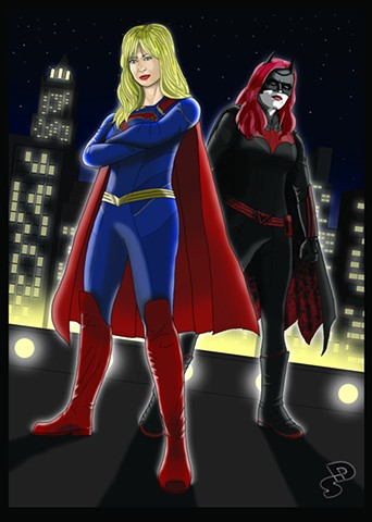 Illustration piece of the CW's Supergirl and Batwoman.