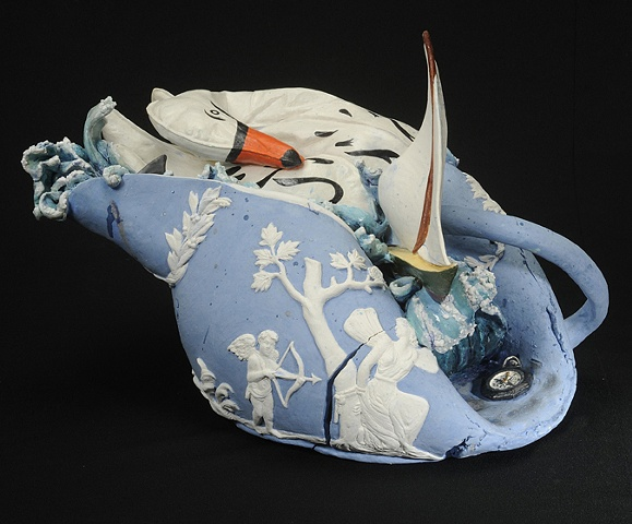 Wedgwood Cup Runneth Over Series, deflated ceramic swan, sailboat, and compass by Linda S Fitz Gibbon