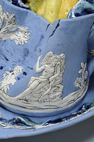 Large Wedgwood Cup Runneth Over detail of the Three Graces & cupid by Linda S Fitz Gibbon