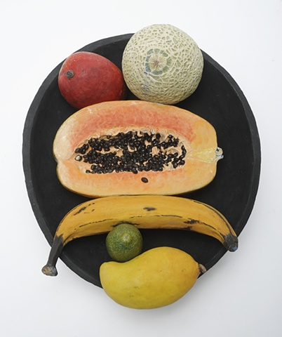 trompe l'oeil ceramic plate with exotic fruit to form figure after Munc's The Scream, by Linda S Fitz Gibbon