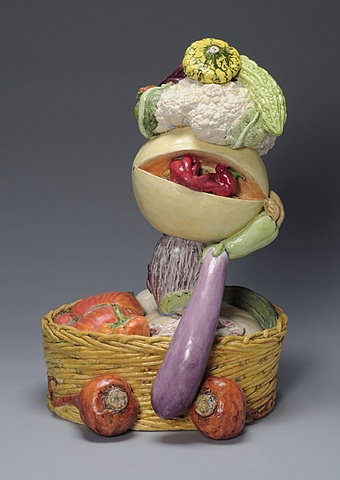 Art & Ag Commission, Yolo Arts/James Irvine Foundation, trompe l'oeil ceramic portrait composed of vegetables from the farmer's market by Linda S Fitz Gibbon of