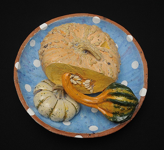 ceramic pumpkin plate by Linda S Fitz Gibbon
