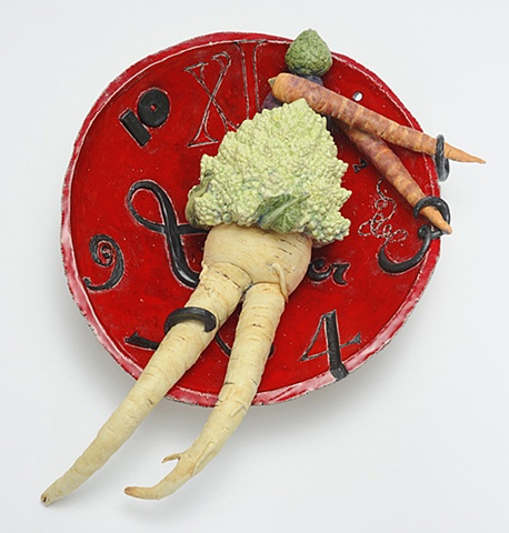 trompe l'oeil ceramic plate with vegetable figure and clock by Linda S Fitz Gibbon