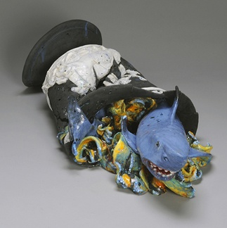 Neptune, Wedgwood Cup Runneth Over Series, ceramic art by Linda S Fitz Gibbon about BP oil spill