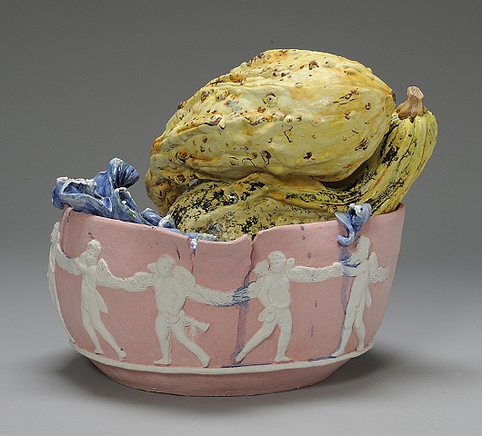 Large Wedgwood Cup Runneth Over Series cerub bowl with rotting gourds