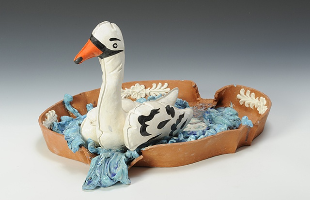 Wedgwood Cup Runneth Over Series with inflatable swan