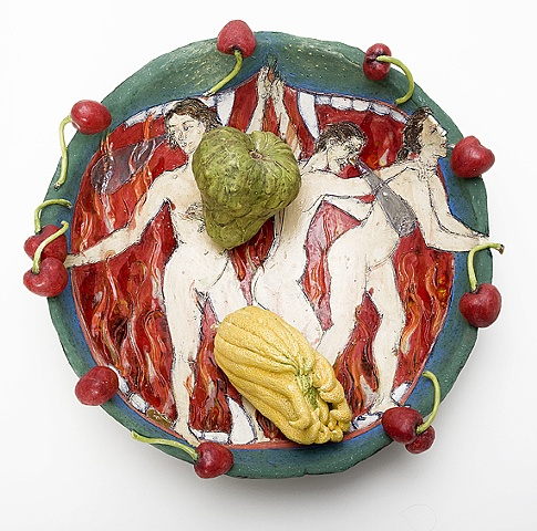 cherry rimmed ceramic plate with mouth of hell illumination, ceramic buddha's hand, and cherimoya by Linda S Fitz Gibbon as tribute to Roy De Forest