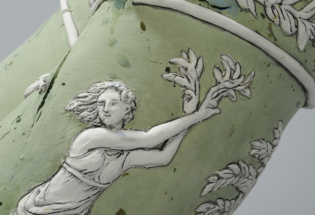 Large Wedgwood Cup Runneth Over detail of Daphne by Linda S Fitz Gibbon
