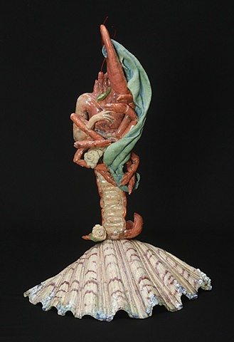 Rebirth of Venus, after Botticelli, ceramic lobster figure on a half shell by Linda S Fitz Gibbon