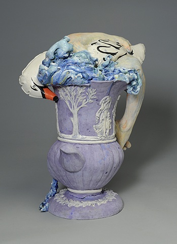 Wedgwood Cup Runneth Over Series with Leda and Zeus as inflatable swan by Linda S Fitz Gibbon