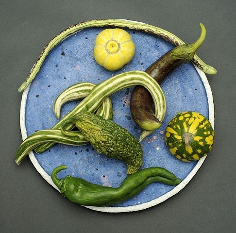 trompe l'oeil ceramic plate with vegetables from the Asian farmer's market by Linda S Fitz Gibbon