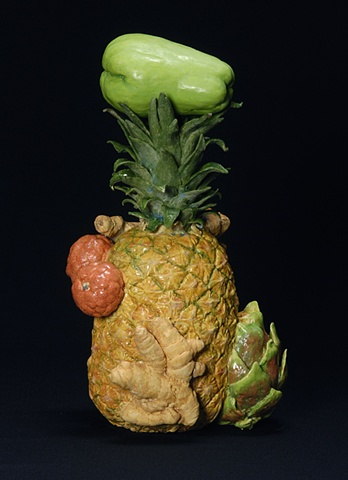 ceramic portrait with pineapple and other fruit by Linda S Fitz Gibbon