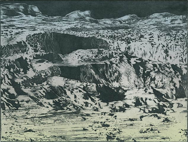 brigitte caramanna printmaking of moon, craters, space, planet, atmosphere, intaglio, unknown