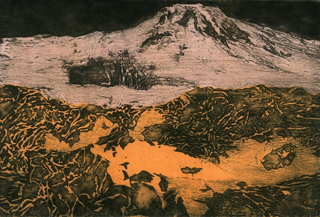 Brigitte Caramanna, space, venus, volcano, mountain, nature, art, science, astronomy, intaglio printmaking by brigitte caramanna