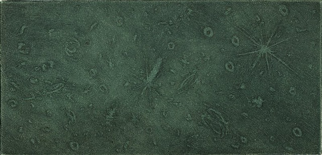galaxies, star, space, night, atmosphers, specimens, microscope intaglio printmaking by brigitte caramanna