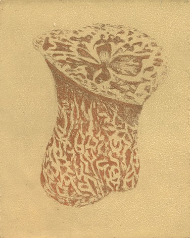 brigitte caramanna, mushroom, nature, intaglio, life, forms, printmaking, art,
