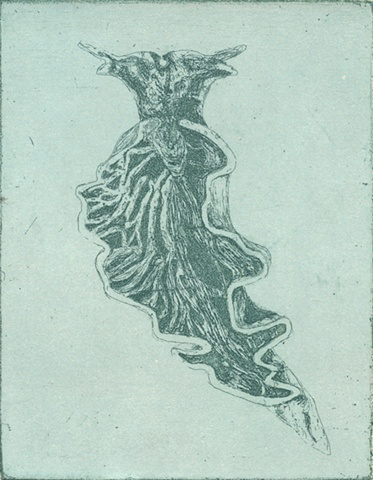 printmaking by brigitte caramanna of sea, slug, water, ocean, blue, life forms, specimen, nature, art, intaglio