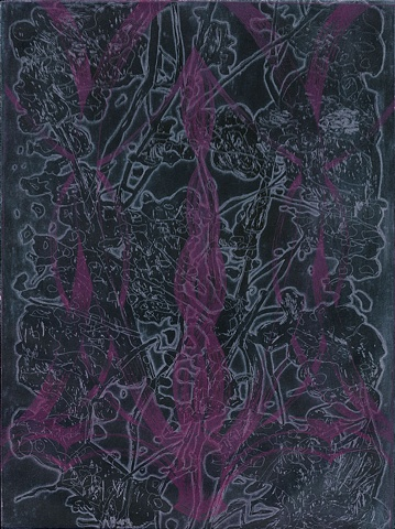 Brigitte Caramanna, cherry blossom, nature, tree, spring, dark, night, pink  intaglio printmaking by brigitte caramanna