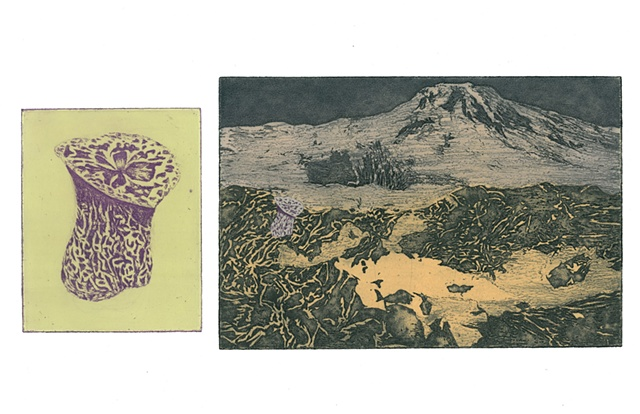 Picture of Brigitte Caramanna, brigitte caramanna, art, intaglio, prints, purple, orange, nature, life, mushroom, venus, space, life, planets, mountain, landscape, volcano intaglio printmaking by brigitte caramanna