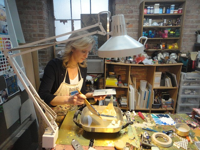 Amy at her first encaustic class.