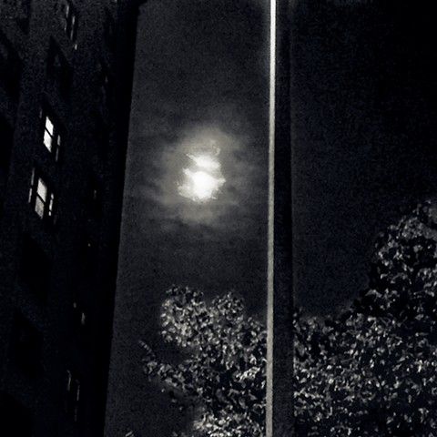 PHotograph of Moon, Buildings, Manhattan, Night, by Judith Ebenstein