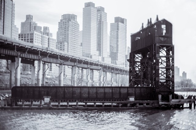 Photograph of Trestle, West Side Highway, and the Upper West Side, Manhattan, NY, by Judith Ebenstein