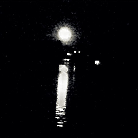 Photograph of Moon, Lake, Reflection, Mahopac, Night, Black and White, by Judith Ebenstein