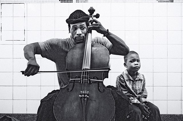 Photograph of a Cellist and a Boy, Grand Central Subway Station, Manhattan, New York, by Judith Ebenstein