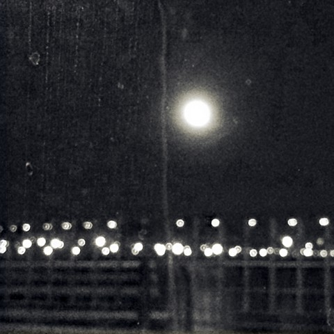 Photograph of Moon, on East River, Lights, New York City, Night, Black and White, by Judith Ebenstein