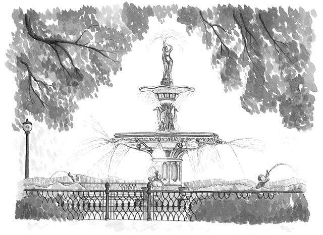 Jill J Howell Fine Art And Illustration Forsyth Park Fountain