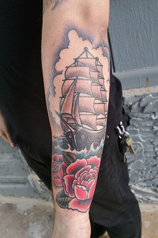 Animal Farm Tattoos Chicago Tatuajes Clipper Ship and Rose