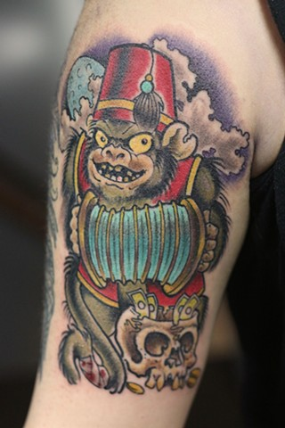 Animal Farm Tattoos Chicago Tatuajes Horror Carnival Monkey