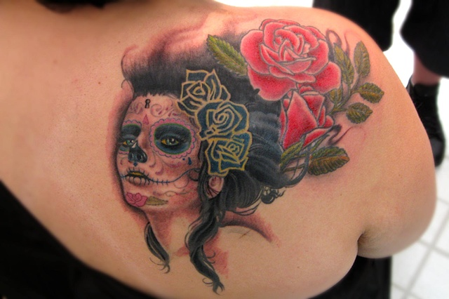Animal Farm Tattoos Chicago Sylvia Ji Day of the Dead Girl