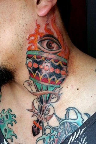 Torch Neck Tattoo