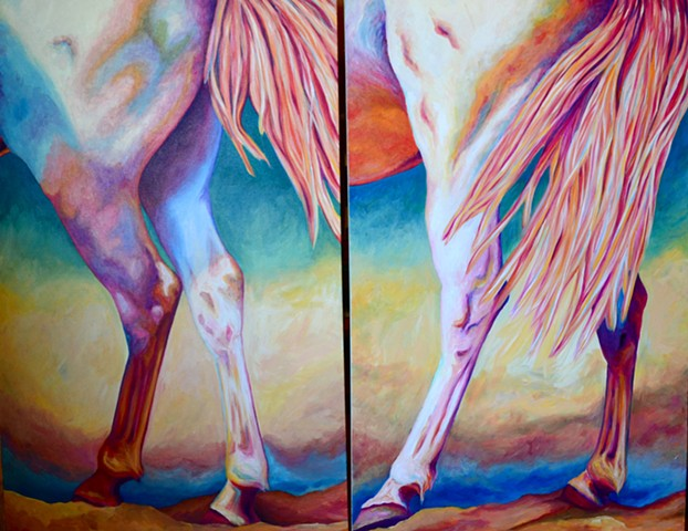"""Crossing Over 1 & 2"" from  ""Horses in Motion"" series"