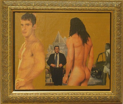 Selfless travels of love:Saint Paul (left), Male Venus (right of center, from behind), Demagogue (George Bush, left of center adjusting suit), and Cupid (far right, pulling up underwear).