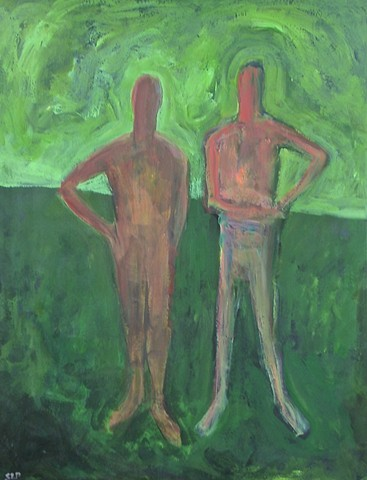 Two Figures with green