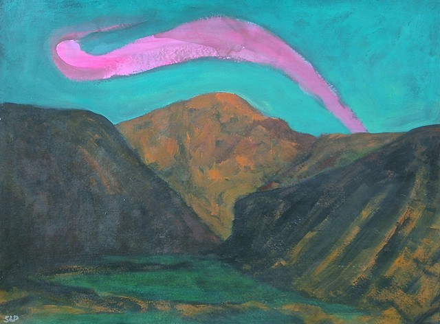Arching cloud with mountain