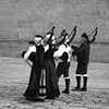 """Parade of Musicians""  Bag pipes are an integral part of Galicia, even though they were repressed during the dark days of Galicia."