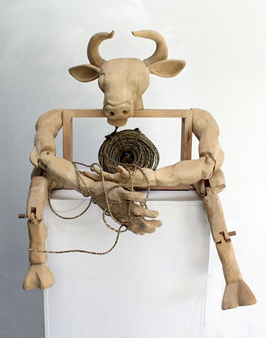 reimagined tale our tangled web minotaur sculpture
