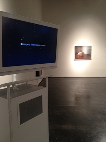 "'Terrestrial Discourse' (2012) Mik Gaspay Lectern, LCD monitor, Video 71"" x 31"" x 21"""
