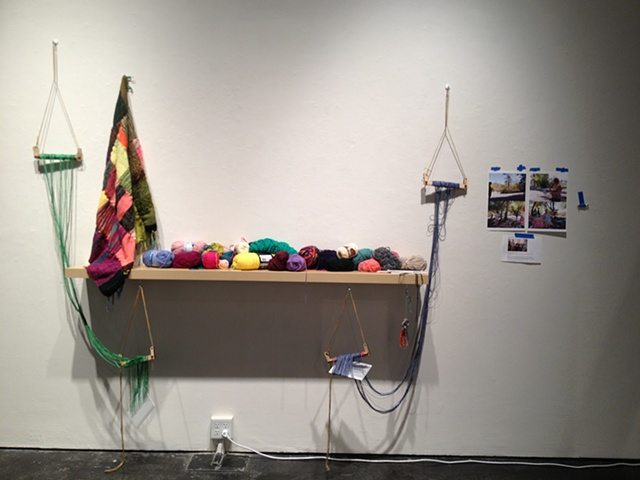 'Weaving Installation' (2012) Travis Meinolf Wool, cotton, 2 laser cut plastic looms, wool and cotton blanket, pen, paper, documentation, participation