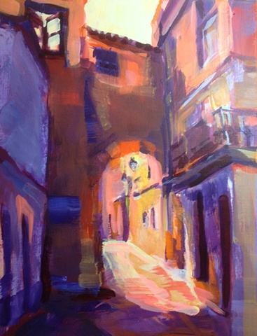 Dramaticlight,impressionist,landscape,street scene,acrylic,painting,on canvas,Cordoba,Spain,old Jewish Quarter