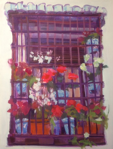 Gypsy Quarter, Albayzin, Granada, Spain, Painting,Floral, Impressionistic vs. Realistic, Spring, Spring blossoms, Flower window scene