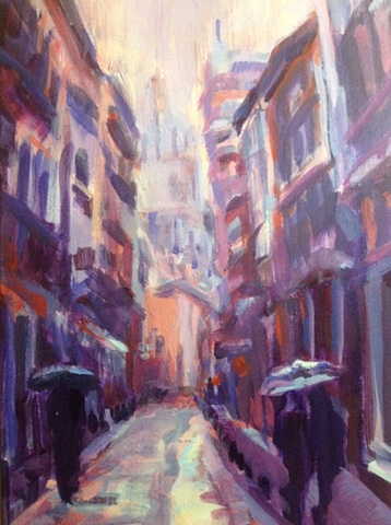 exotic,impressionism,painting,landscape,stree scene,cathedral,reflection,warm and cool,spring rain,Granada,Spain