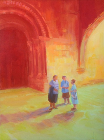 Spain, Impressionism, painting, Bold, Hot color, Acrylic on canvas, Tudela, Navarra,Spain, Gothic, Cathedral, sisters, figurative, gathering, chatting