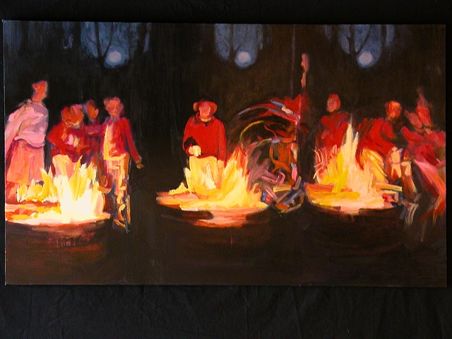 Merging campfire scenes creating one large canvas with playful mood and dramatic light.