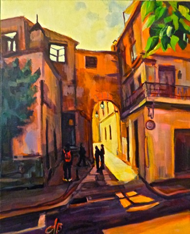 Spainish Street Scene, Cordoba, Spain, Moorish Architectural Painting