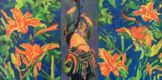 POP, triptych, garden scene, flourescent, impressionistic, Portugal inspired
